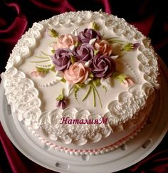 Flowers birthday cake sheet 63 Ideas for 2019 Pretty Cakes, Beautiful Cakes, Amazing Cakes, Unique Cakes, Creative Cakes, Super Torte, Birthday Cake With Flowers, Cake Birthday, Cake Piping