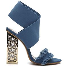 Blue 34 Metallic Block Heel Sandals (94 RON) ❤ liked on Polyvore featuring shoes, sandals, block shoes, blue heeled sandals, metallic shoes, metallic sandals and block-heel sandals