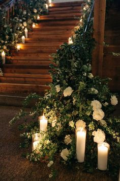 lush greenery wedding staircase with candles garden wedding reception Candlelit Indoor Garden Wedding with Classic Femme Touches ⋆ Ruffled garden wedding decorations Garden Wedding Decorations, Reception Decorations, Indoor Garden Wedding Reception, Reception Entrance, Wedding Staircase Decoration, Wedding Lighting Indoor, Wedding Stairs, Indoor Garden Party, Enchanted Garden Wedding