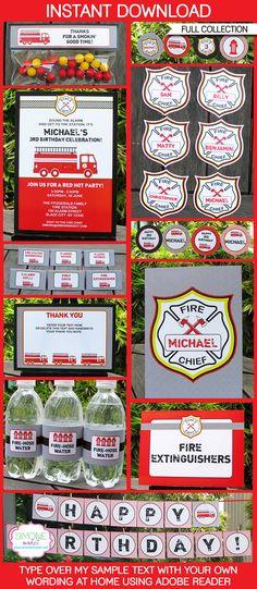 Fireman Party Printables, Invitations & Decorations   Editable Birthday Party Theme Templates   INSTANT DOWNLOAD $12.50 via SIMONEmadeit.com