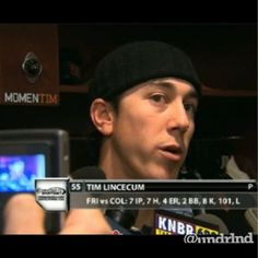 2 Time Cy Young Award Winner Tim Lincecum places our MomenTIM sticker on his locker. MomenTIM tees are available online at www.undrlnd.com