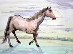 The horse and the moon (original watercolor, ink painting) one of a kind 15 X 20 in. $28.00, via Etsy.