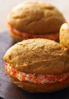 Pumpkin-Spiced Whoopie Pies with Ginger Cream – When the bake sale table is groaning from all those pumpkin pies piled on top, you'll be glad you brought Pumpkin-Spiced Whoopie Pies with Ginger Cream..