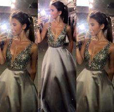 elegant Prom Dresses,gray Prom Dresses,Grey prom gowns,sparkle evening