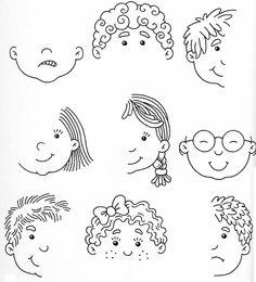 Doris-ka Drawing Cartoon Faces, Cartoon Sketches, Art Therapy Activities, Preschool Activities, Doodle Drawings, Easy Drawings, Pencil Drawings, Drawing Lessons, Art Lessons