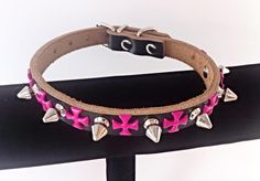 Spiked Dog Collar GENUINE LEATHER  -  Small Black / Pink Cross Silver Spikes  Pet Accessories by ToxifyDesigns on Etsy