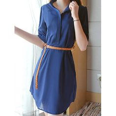 Wholesale Simple Design Women's Stand Collar Solid Color Short Sleeve Chiffon Dress with Belt