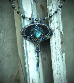 Bead embroidery necklace Labradorite beadwork by suzidesign