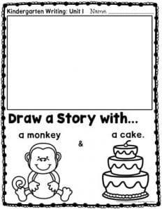 Kindergarten Writing – Planning Playtime Kindergarten Writing Worksheets – Drawing a Story – Monkey and Cake Kindergarten Journals, Kindergarten Writing Activities, Kindergarten Drawing, Kindergarten Morning Work, Kindergarten Lessons, Writing Worksheets, Writing Lessons, Writing Skills, Work Activities