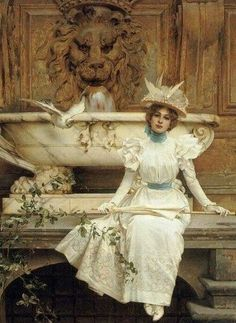Vittorio Matteo Corcos.  Ожидание у фонтана 1897