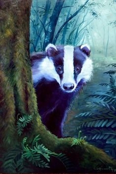 Original oil painting on wood panel BADGER, eco friendly, sustainable wall art, unique gift for vegans or vegetarians – but also for anyone who loves nature and cares about the environment.