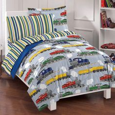 Kids' Comforter Sets - Dream Factory Trains Ultra Soft Microfiber Boys Comforter Set Blue Twin *** Learn more by visiting the image link. Boys Comforter Sets, Teen Boy Bedding, Kids Comforters, Blue Bedding Sets, Twin Comforter, Sports Bedding, Dorm Bedding, Bedspreads, Console