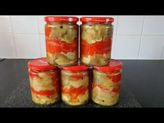 Vinete si ardei marinati pentru iarna - YouTube Pickles, Strawberry, Fruit, Cooking, Youtube, Food, Canning, Kitchen, Essen