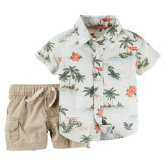 Complete with cargo shorts and a beachy button-front, this coordinating 2-piece set is just right for your little dude.