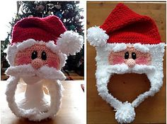Crochet pattern for a fun Santa Hat. Includes toddler to adult sizes, plus snowman and penguin variations.