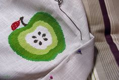"""apple - I love this so much that I might even attempt cross-stitch again, even after saying, """"Never again"""" !!"""
