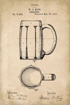 Beer Mug Invention Patent Art Poster Print - Keep Calm Collection #beerart #patentartposters
