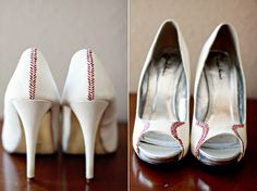 "UMM i have no red in my wedding but how amazing are these ""baseball"" shoes!!"