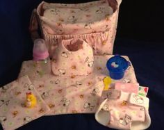 Doll size Diaper Bag in Snoopy and Woodstock material with all the goodies!