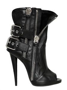 GIUSEPPE ZANOTTI - 120MM LEATHER BIKER OPEN TOE BOOTS - LUISAVIAROMA - LUXURY SHOPPING WORLDWIDE SHIPPING - FLORENCE