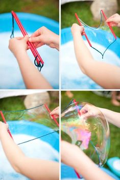 It's Written on the Wall: {Summer Survival} Amazing Bubble Party-Get Creative! It's Written on the Wall: {Summer Survival} Amazing Bubble Party-Get Creative! Bubble Solution Recipe, Homemade Bubble Solution, Homemade Bubbles, Homemade Bubble Wands, Summer Activities For Kids, Craft Activities, Games For Kids, Crafts For Kids, Bubble Fun