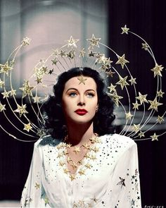 Hedy Lamarr, Ziegfeld Girl is Gorgeous!I Love her head piece. @thepinkcollarlife Please make a crown like this!✨I would like to think she may be inspiration for some of your pieces#ziegfeldgirl#hedylamarr#starcrown#thepinkcollarlife#makethiscrownplease#inspiration#classicbeauty#gorgeous#showstopper#love