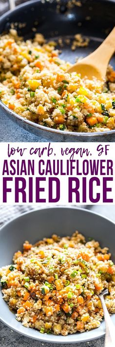 Learn how to cook Low Carb Asian #CauliflowerRice which is a healthy take on fried rice thats vegan, #glutenfree & keto friendly. Ready in twenty minutes and loaded with veggies! Easily made paleo too.  My Food Story blog