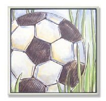 The Kids Room Soccer Ball and Grass Square Wall Plaque
