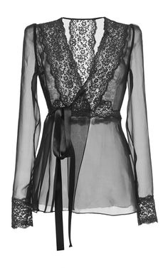 Silk Blend Chiffon Lace Wrap Blouse by Dolce & Gabbana