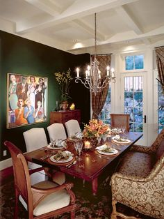 In this dining room, an oil painting depicting a New Years Eve celebration in the sets the nostlagic tone thats underscored by pine green walls and a white coffered ceiling. Condo Living, Decor, Dining Room Design, Dining Room Spaces, Dining Room Inspiration, Dining Room Paint Colors, Ranch Decor, Space Saving Dining Table, Dining Room Sets