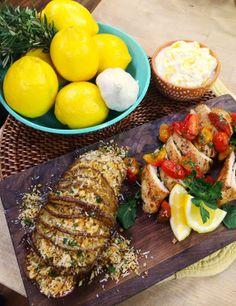 Cristina cooks #hearthealthy #Spinach and #Ricotta #Stuffed #Chicken with #Hasselback #Potatoes @Cristina Ferrare #HomeandFamilyTV