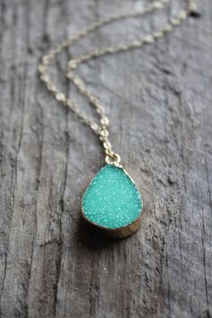 Gold Edged Petite Green Druzy Stone Necklace with gold plated chain