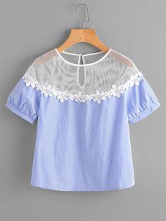 #AdoreWe #ROMWE ROMWE Illusion Neck Daisy Lace Trim Puff Sleeve Top - AdoreWe.com