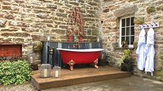 Sip champagne under the stars whilst taking a dip in the outdoor bath at the Shepherd's Cottage...unique self catering in Cumbria.