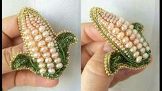 Oooh can make Indian corn for fall Bead Embroidery Jewelry, Ribbon Embroidery, Beaded Embroidery, Beaded Jewelry, Bulgari Jewelry, Chanel Jewelry, Dainty Jewelry, Jewelry Rings, Jewellery