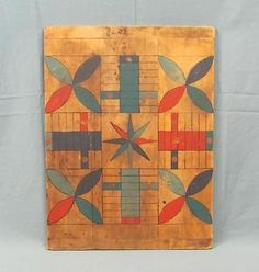 Antique-Early-American-Folk-Art-Parcheesi-painted-Wood-Game-Board-Primitive-PA