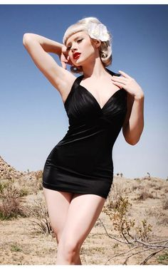 The Bombshell Swimsuit in Black by Pinup Couture - Swimwear | Pinup Girl Clothing