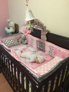 Stylish pink chevron bedding now available for baby girls! pink, grey and white are the perfect color combination for the ever popular chevr… Baby Bedroom, Nursery Bedding, Baby Room Decor, Nursery Room, Girl Nursery, Girl Room, Nursery Ideas, Pink Chevron Bedding, Elephant Baby Rooms