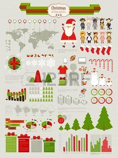 Weihnachten Infografik mit Diagrammen und anderen Elementen gesetzt. Stockfoto - 15983304