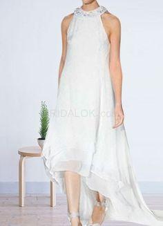 White Halter Beaded Chiffon Satin Maternity Mini Wedding Dress For Bride