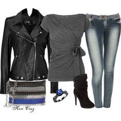 Women's Classy Rocker Outfit ~ Cute T-Shirt, Nice Jeans, ...