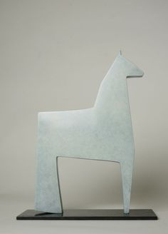 Cast bronze Figurative Abstract Sculptures #sculpture by #sculptor Stephen Page titled: 'White Horse (Minimalist Little Bronze statuettes)' £1100 #art