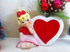 Vintage Ceramic Valentine Girl Planter RARE Red Heart Glass Garland Floral Picks | eBay