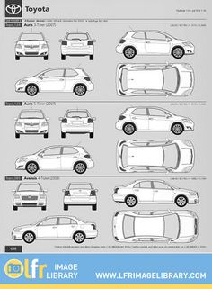 Sample of Toyota outlines from a library of over 5000 up to the minute and perfectly scaled vehicle outlines as used by signmakers and vehicle wrappers.