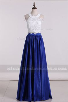 2017 Halter Lace Royal Blue Two Piece Prom Dresses ZPGP512