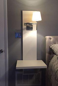 35 DIY Floating Nightstand Ideas for Space Saving, Bedroom Organization diy, Diy Nightstand, Floating Nightstand, Unique Bedside Tables, Bedroom Organization Diy, Diy Home Decor Bedroom, Trendy Bedroom, Bedroom Small, Small Rooms, Diy Home Improvement