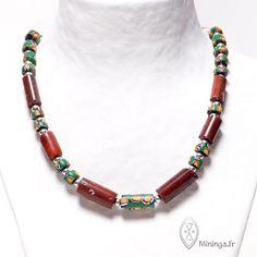 by Mininga Designs | www.miningadesigns.com | Elmina  | silver - vintage - ancient - necklace - trade bead - jasper - millefiori - green - brown