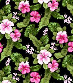 Tropical Shirting Fabric Hibiscus Fuchsia at Joann.com