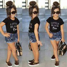 Vogue Sleeveless Tops/Black Tee/Black & White Stripe Top + Short Pants 2 Piece Girls Clothes