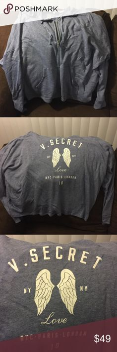 Victoria Secret Angel zip up hoodie Brand new with tags ! Words on the back.. very soft blue color no trades. No lowballing Victoria's Secret Tops Sweatshirts & Hoodies